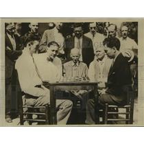 1929 Press Photo Asa Long Vs Louis Ginsberg in American Checker Association Game