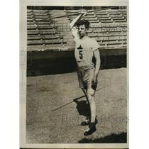 1928 Press Photo E Lundqvist of Sweden Olympic javelin record 218' 6""