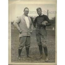 1924 Press Photo Coach Bob Fisher & capt. Malcolm Greenough, Harvard football
