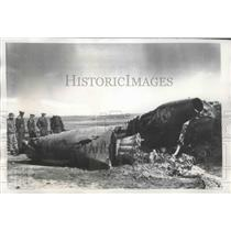 1956 Press Photo officials at wreckage of B-47 & F-80 collision, Lincoln AFB