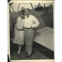 1929 Press Photo Capt William P Erwin Latest Dole Flight Entrant and Wife
