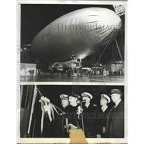 1943 Press Photo M-1 Worlds largest non rigid christen in its hanger in Akron