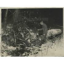 1934 Press Photo Farmer Frank Kraft Discovered This Wrecked Plane - nef65668