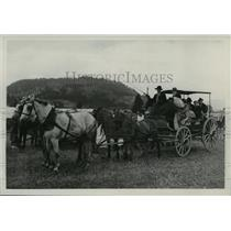 1938 Press Photo Four Horse Team Stage Coach filled with travelers - spx16920