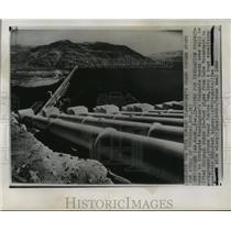 1950 Press Photo Coulee Dam, Washington--PIPES FOR IRRIGATION PROJECT