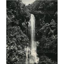 1950 Press Photo Waterfall fed by Volcano Haleakala on Maui, Hawaii - mja62762