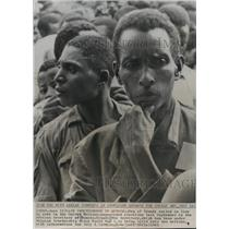 1962 Press Photo Urundi Men Waiting in Line to Vote, Rwanda-Urundi, Africa