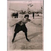 1921 Press Photo Gladys Robinson at International Ice Skating Championship