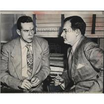 1948 Press Photo Weston Adams & Suspended Don Gallinger NHL Boston Bruins