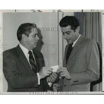 1970 Press Photo Consul Fillipp Anfuso Receives Concert Tickets from P. Compagno