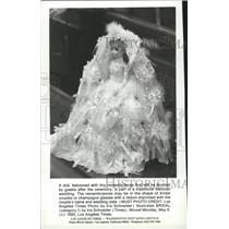 1983 Press Photo A doll, adorned with tiny remembrances, part of Mexican wedding