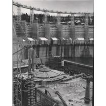 1953 Press Photo Cabinet Gorge Dam, construction of protective cover - spa44822