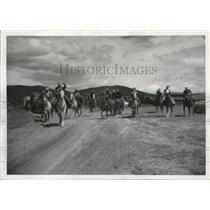 1960 Press Photo Spokane horseman en route to Longview Cattlemen's Association