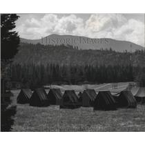 1985 Press Photo Service tents for the Girl Scout Senior Roundup July 15-28.