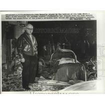 1963 Press Photo John Mannella Stands in Bedroom of Home Where Small Plane Crash