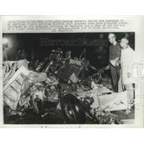 1966 Press Photo Workers Search Wreckage of Crashed American Flyers Airlines