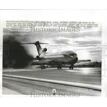 1970 Press Photo Billowing Smoke National Airlines Jet Lands at Training Strip