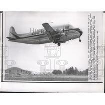 1962 Press Photo Modified Boeing 377 Stratocruiser nicknamed the Pregnant Guppie
