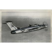 1955 Press Photo Republic XF-84H Fighter Plane Maiden Flight - neo23711