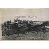 1935 Press Photo Wreckage of Transcontinental Air Liner That Crashed Into Hill