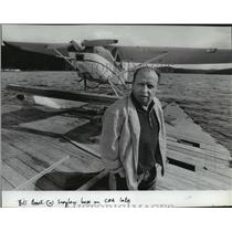 1984 Press Photo Bill Brook at seaplane base on Coeur d'Alene Lake - spa64970