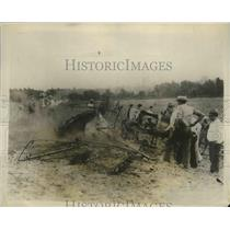 1928 Press Photo Fatal Plane Crash Marred Arrival in Kansas City at Airport