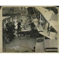 1922 Press Photo Wreckage Airplane After it Plunged Into North River in NYC