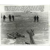 1966 Press Photo Two Men Escaped After Ski-Equipped Piper Cub Broke in Ice