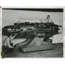 1949 Press Photo J-47 Jet Engine Display at National Air Races, Cleveland, Ohio