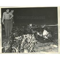 1938 Press Photo Three People Killed When Cabin-Type Monoplane Crashed & Burned