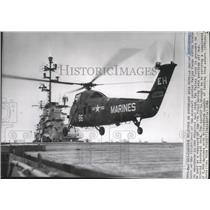 1962 Press Photo Marine Helicopter during a training maneuver in the Atlantic