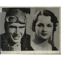 1935 Press Photo Richard K Smith pilot & Mrs Dorothy Tretnaway run away by plane