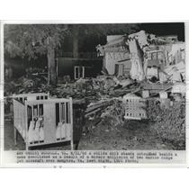 1966 Press Photo A crib stands beside a Home Demolished by 2 Midair Collisons