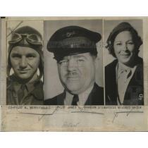 1938 Press Photo Co-Pilot A Merrifield, Pilot James Brandon, Midred Macek