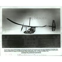 1988 Press Photo Daedalus airplane craft hovers at Edwards Air Force Base, Ca