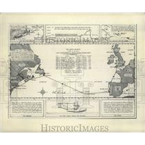 1949 Press Photo North Atlantic Chart of Flight of NC-4 First to Fly Atlantic