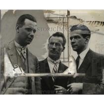 1927 Press Photo C.T. Ulm, C.K. Smith, K.V. Anderson Arrive in San Francisco