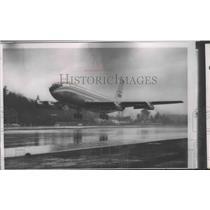 1957 Press Photo Maiden Flight of 1st big Boeing Airplane Company Stratoliner