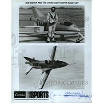 1985 Press Photo Bob Bishop and the Coors Light Silver Bullet Jet - mja63716
