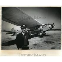 1963 Press Photo Old Ford Trimotor Transport Plane With Pilot Capt. Ralph Long