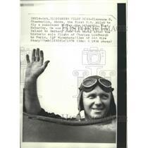 1976 Press Photo Clarence Chamberlin Pilot- flies passenger plane over Atlantic