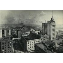 1929 Press Photo Business District, Tacoma, Tideland Factory district in back
