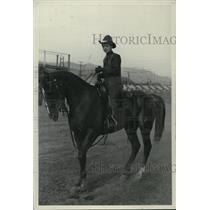 1937 Press Photo Man Atop Horse at a Rodeo - spx18435
