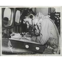 1941 Press Photo Commander of Royal Australian Air Force Charts Course