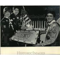 1983 Press Photo Boy Scouts Have a Birthday Party in Brookfield - mja64544