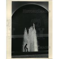 1984 Press Photo Ray Kuchling in Front of Dallas Museum of Art Fountain