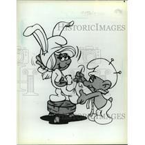 "1983 Press Photo Cartoons- Smurfette & Tailor Smurf From ""The Smurfs"""