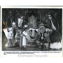 "1993 Press Photo ""Beauty"" on ice: Belle meets new friends, the Enchanted Objects"