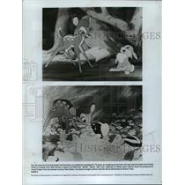 "1989 Press Photo Bambi, Thumper, and Flower in Disney's ""Bambi"" - mja75711"