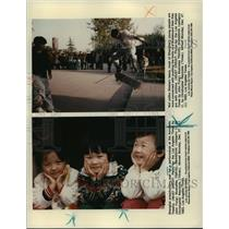 1993 Press Photo Shanghai preschoolers at Acrobatic Theatre, teens skateboarding
